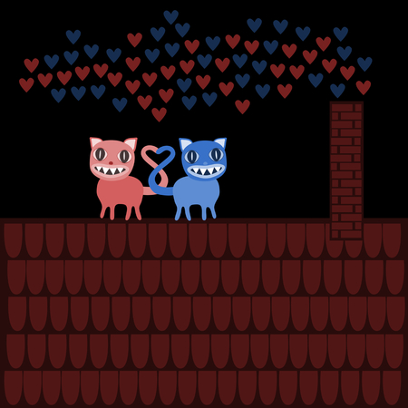 fateful: Terrible Valentine cats with large teeth, on roof in night. Illustration