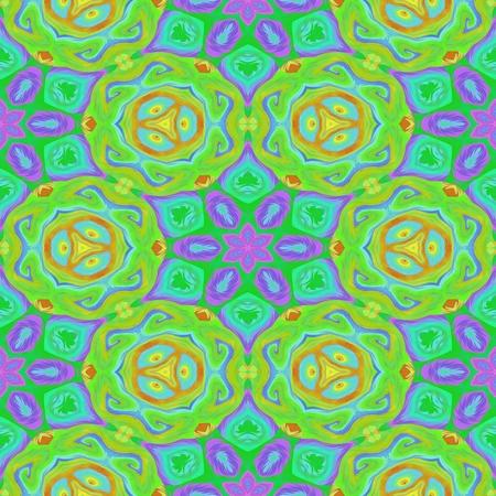 Green pink floral symmetrical pattern Stock Photo