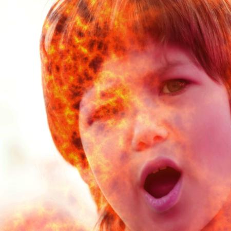 Screaming girls burning face - photomanipulation
