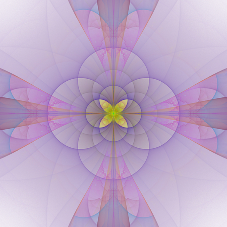 Abstract pink violet floral tile with yellow central motif - digitally rendered fractal pattern Stock Photo