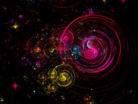 Shining vibrant colorful spirals on rectangular dark card - 3d rendered illustration