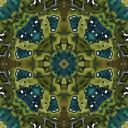 Oriental style green turquoise ornamental pattern Stock Photo