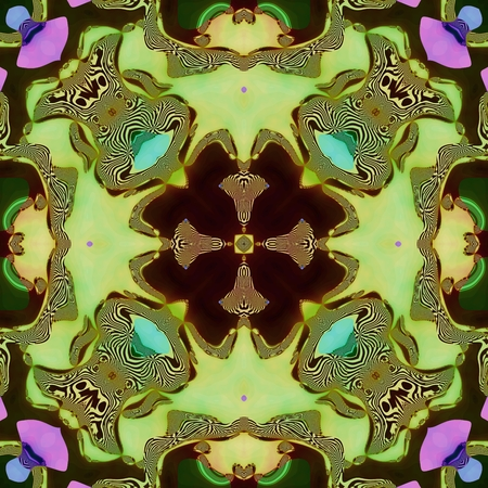 Floral seamless symmetrical fractal abstract pattern