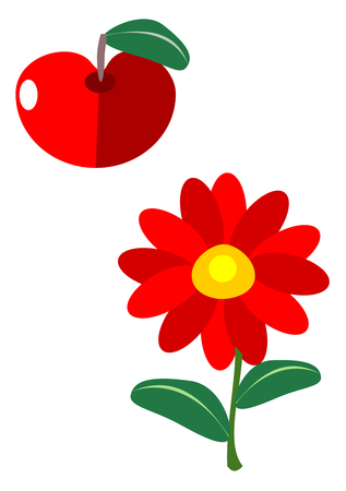 Simple shapes of flower and apple fruit - red green illustration - usable as icon