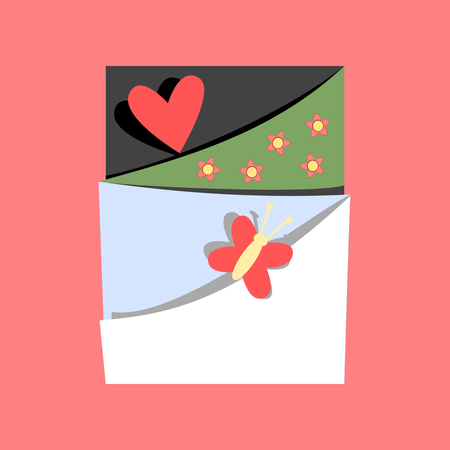 Spring or summer concept with heart and butterfly in scrapbook style