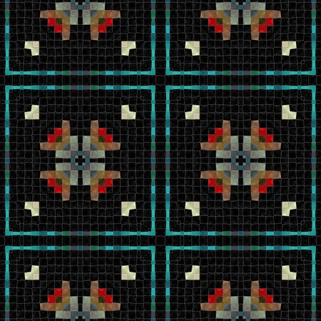 Black turquoise red white ornamental historical mosaic pattern