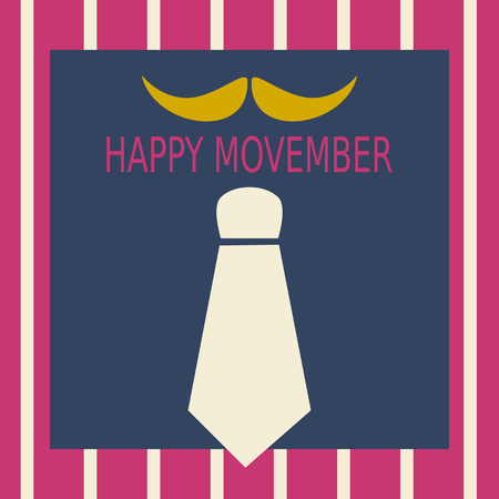 Happy Movember - yellow moustache with beige  necktie on dull blue - gray square in pink red striped border Illustration