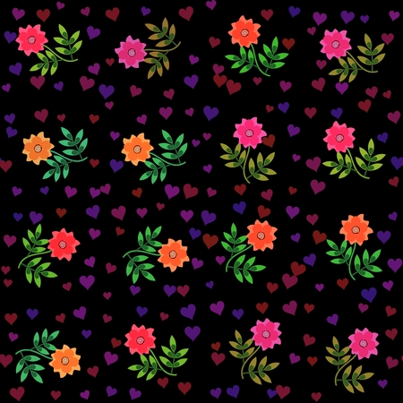 Colorful retro decorative floral background with hearts