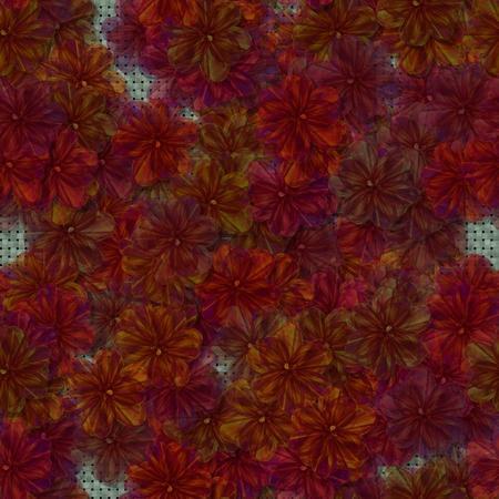 Naadloos patroon samengesteld uit rode oranje bloemen - digitaal gesmolten fractal design - 3d illustratie Stockfoto