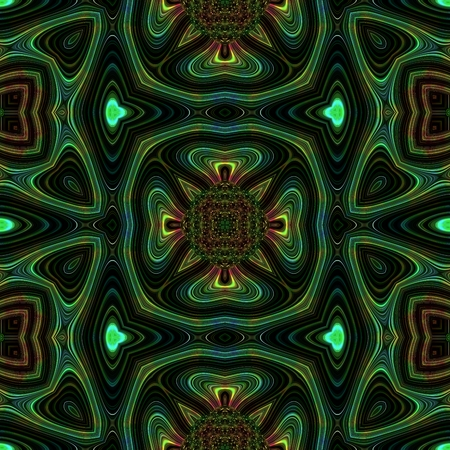 mirroring: Green kaleidoscopic oriental pattern Stock Photo