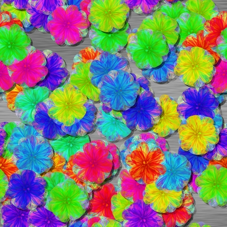 Vibrant shocking colorful floral pattern - optimistic rainbow style - seamless tile