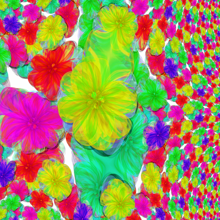 Vibrant shocking colorful pattern composed of fractal flowers - optimistic rainbow style Imagens
