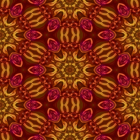 mirroring: Abstract decorative floral beautiful seamless regular red gold wallpaper