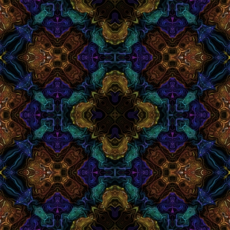 Abstract floral blue turquoise ocher brown pattern
