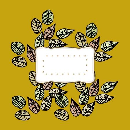 Abstract retro kubistisch patroon met decoratieve bladeren Stockfoto