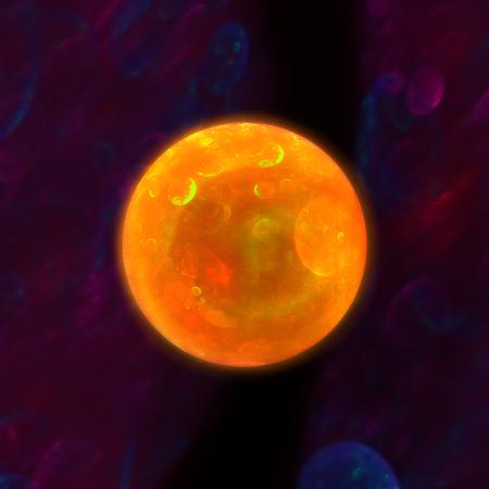 interplanetary: Orange shining planet flying through interplanetary slit