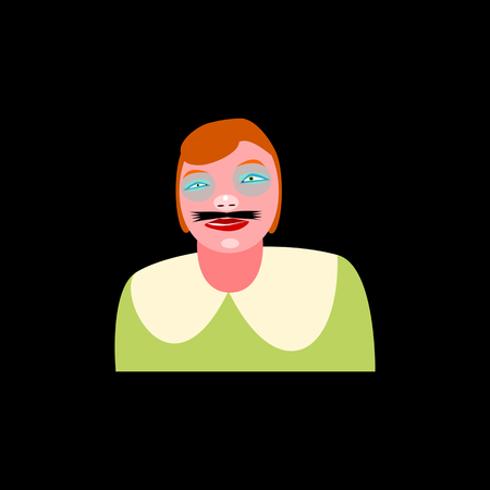 Bust of redhead girl with glued mustache - simple drawing isolated on black background;