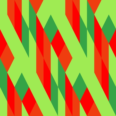 Abstract cubist red orange green pattern