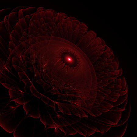Dark red flower - digitally 3d fractal render - abstract background with suppressed contrast Stock Photo
