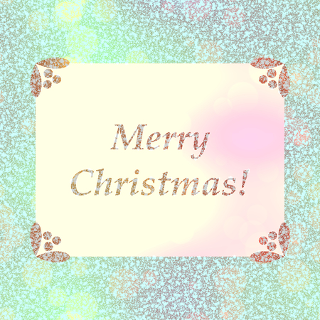 Soft bright blue pink gold Merry Christmas celebration card Stock Photo