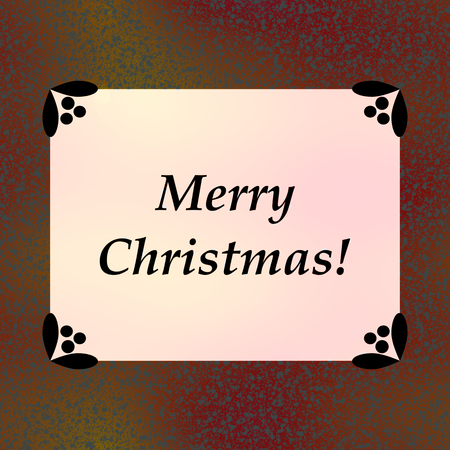 Retro brown pink Merry Christmas celebration card