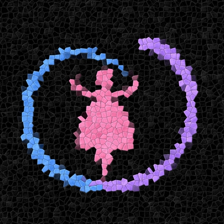 Pink girl figure dancing with blue ribbon ribbon - rendered mosaic - digital illustration