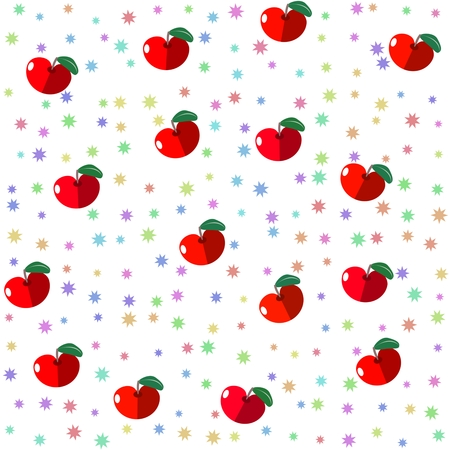 Seamless tile with red fruit apples and pastel colored stars
