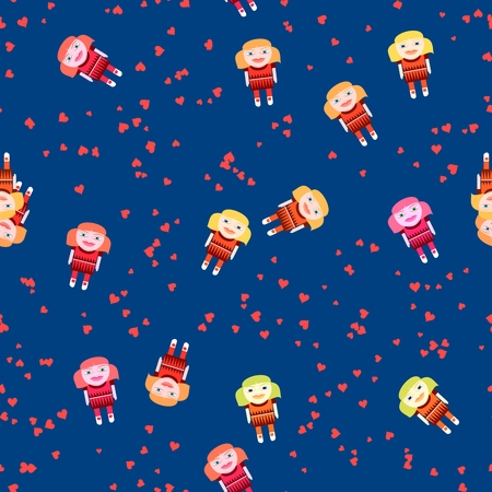 Playful seamless pattern with cute doll and red hearts on cobalt blue