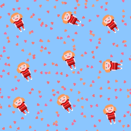 Playful seamless pattern with cute doll and pink hearts on baby blue