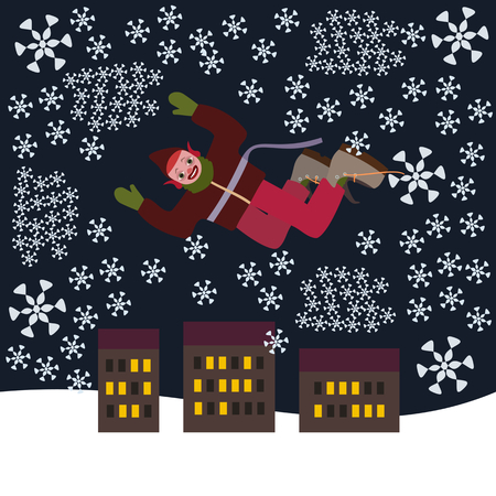 Crazy punk Christmas elf flying over the city in a snow blizzard Illustration