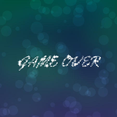Stars or snowflakes inscription Game Over on blue turquoise purple bokeh background