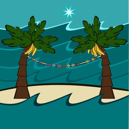 Palms with ripe bananas on which are hanging decorative lights, on the island in the middle of the sea, at night the star shines. Illustration