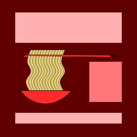 Eetstokjes halen Chinese noedels uit een schaal op - een monochrome locatie die geschikt is voor tekst of reclame - rode en ingetogen okergeluiden.
