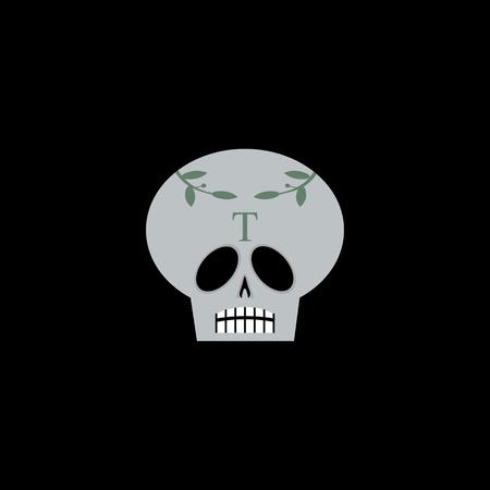 Overladen schedel met laurierbladeren en brief T. Geïsoleerd op zwarte.