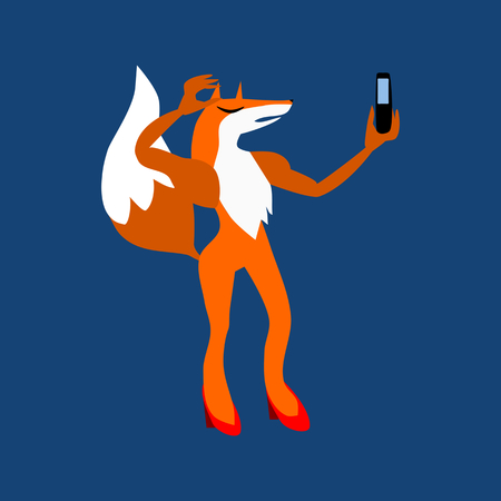 A beautiful young fox in red slippers photographing a selfie.