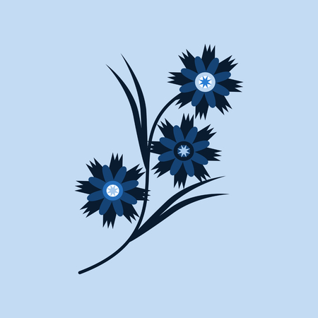 Cornflower - blue decorative floral design - vector drawing