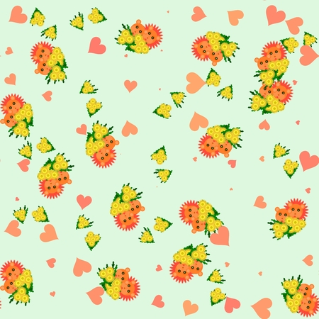 Lion and lioness with bouquet of dandelion - seamless cartoon animal and flower cute pattern in pastel colors orange, yellow and green - with sweet hearts