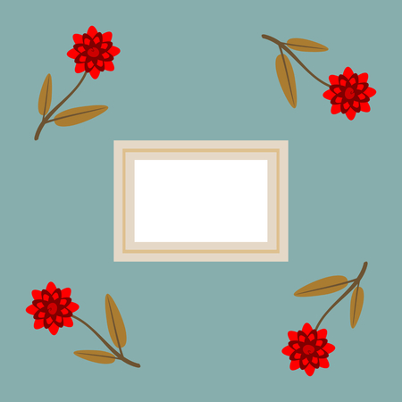 A frame with a label and four red flowers.