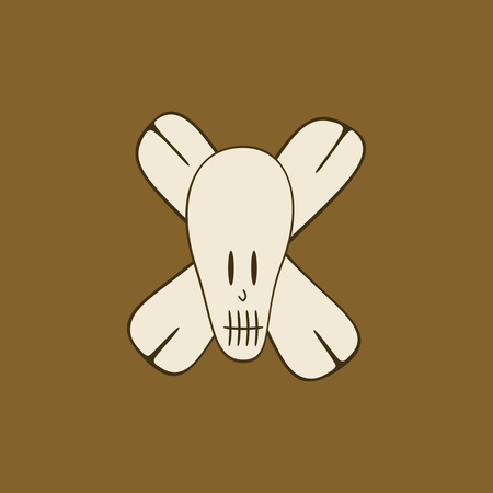 Stylized skull with bones - in brown-brown shades - monochrome illustration.