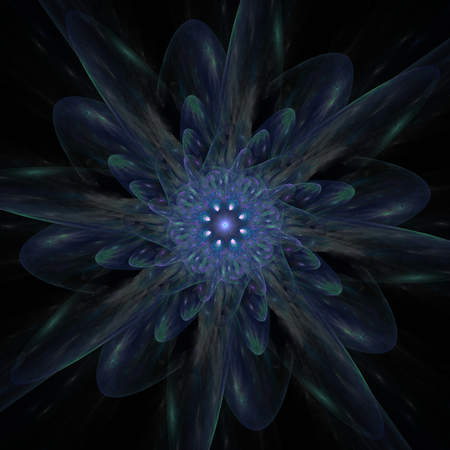 Dimly lit dark blue dahlia. The cold radiation of the sleeping spiritual heart