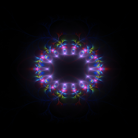 Shining purple wreath - digitally rendered 3d fractal element