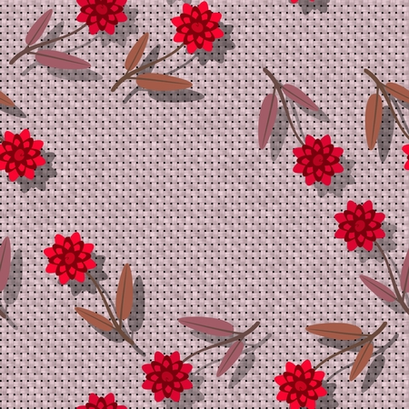 Floral seamless pattern - decorative bloom on rendered textile texture - digital collage