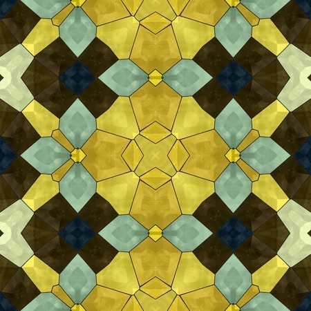 Seamless mosaic kaleidoscopic pattern yellow and blue floral decorative render