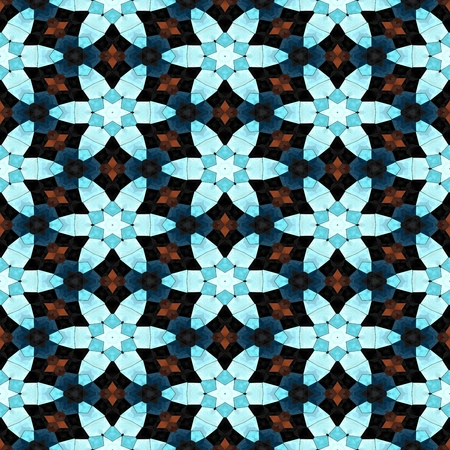 Blue flowers decorative tile on a kaleidoscopic seamless pattern Stock Photo