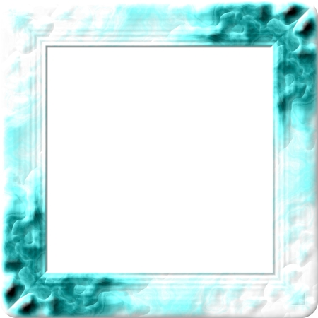 Square border in turquoise green and white colors Stock Photo