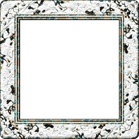 White Gray Black Square Frame with Copy Space - Digital rendered fractal pattern Stock Photo