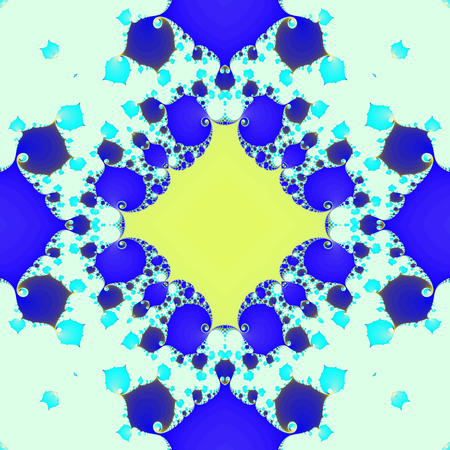 Blue yellow tile fractal mandelbrot julia pattern seamless design modern art optics