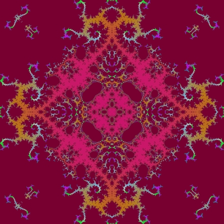 Red orange purple pink symmetrical fractal tile