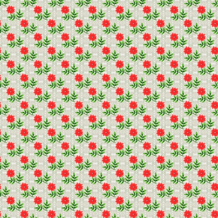 Floral regular repeat pattern - digital render with handmade elements
