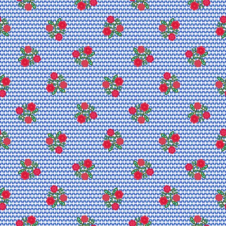 Blue white geometric design with red flowers - decorative floral tile with using rendered and hand drawn elements